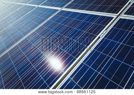 Background Of Blue Solar Panels