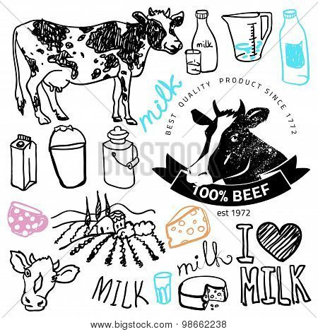 Set of milk and creamery labels,