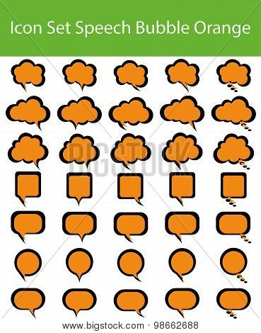Icon Set Speech Bubble Orange
