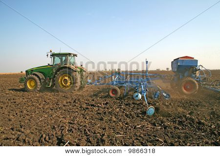 Tractor With Seeder
