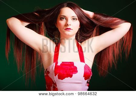 Long Haired Woman Creating Coiffure.