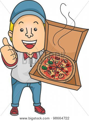 Illustration of a Delivery Man Holding an Open Box of Pizza