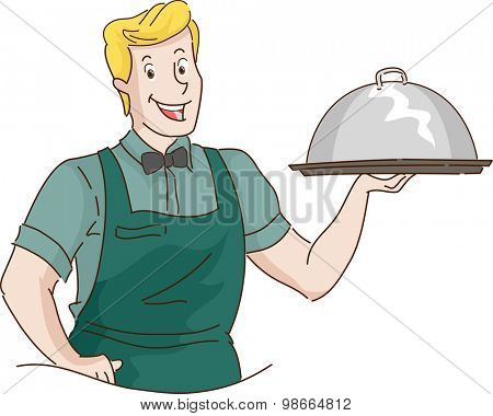 Retro Illustration of a Waiter Carrying a Food Dome
