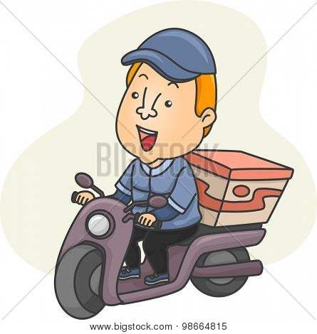 Illustration of a Delivery Man Driving a Scooter