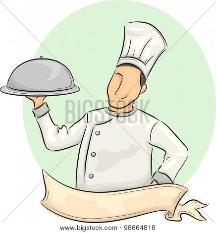 Illustration of a Male Chef with a Ribbon in Front of Him Carrying a Food Dome