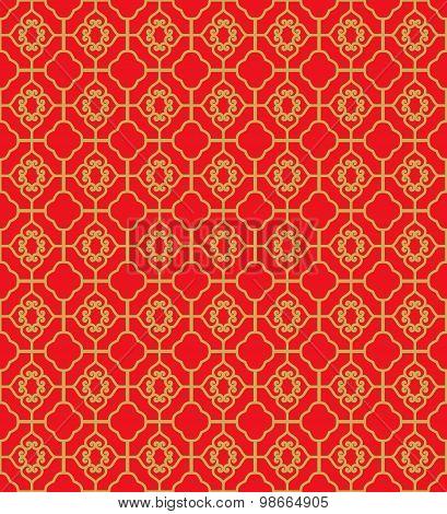 Golden seamless Chinese window tracery diamond square geometry line pattern background.