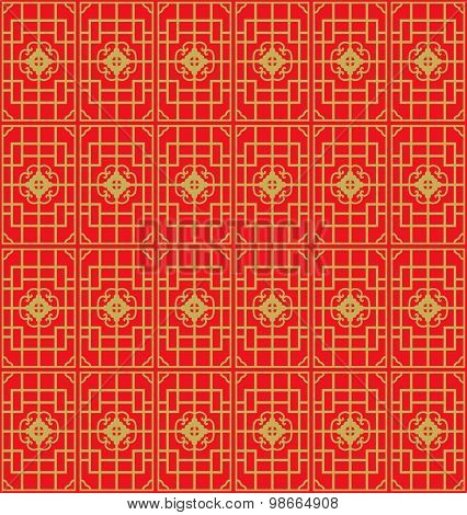 Golden seamless Chinese window tracery geometry square line pattern background.