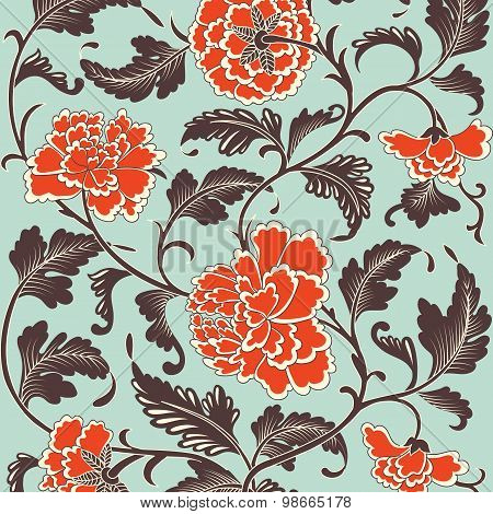 Ornamental colored antique floral pattern.