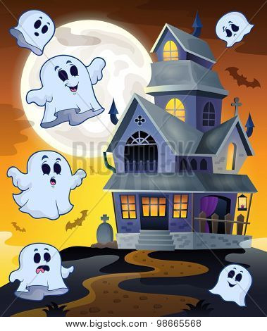 Ghosts flying around haunted house - eps10 vector illustration.