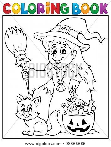 Coloring book cute witch and cat - eps10 vector illustration.