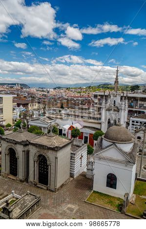 San Diego cemetary in old part Quito showing great overview of city background