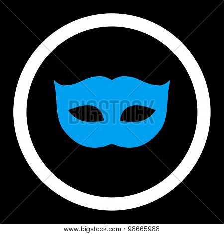 Privacy Mask flat blue and white colors rounded vector icon