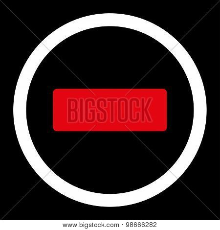Minus flat red and white colors rounded vector icon