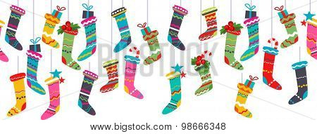 Seamless horizontal border with Santa socks