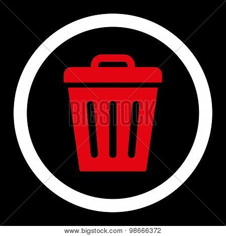 Trash Can flat red and white colors rounded vector icon