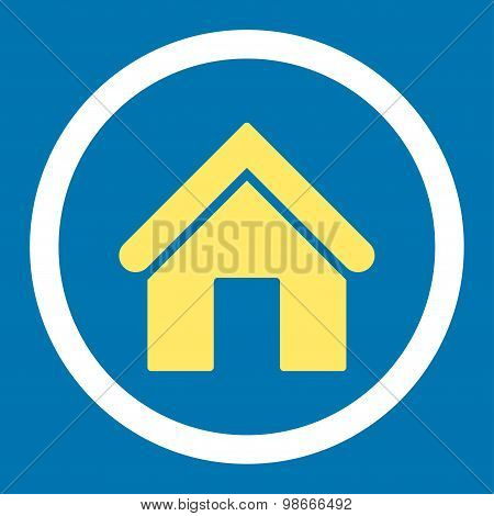 Home flat yellow and white colors rounded vector icon