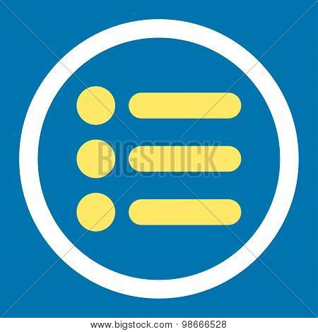 Items flat yellow and white colors rounded vector icon
