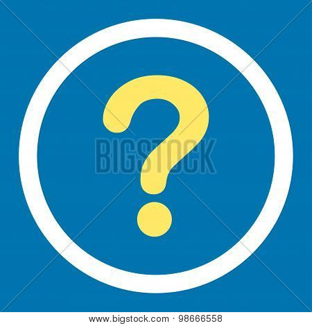 Question flat yellow and white colors rounded vector icon