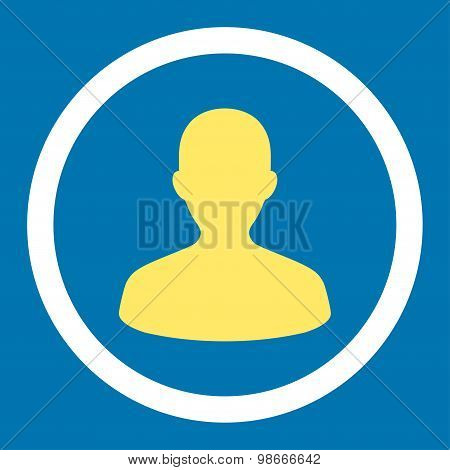 User flat yellow and white colors rounded vector icon