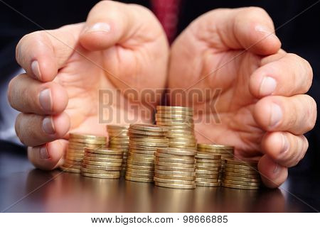businessman with coins