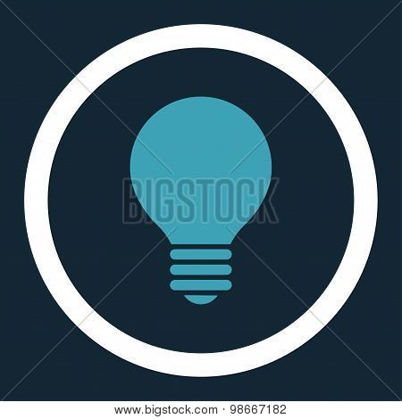 Electric Bulb flat blue and white colors rounded vector icon