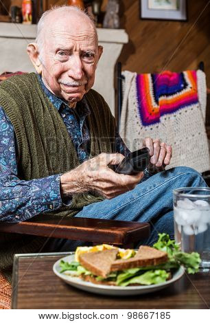 Older Gentleman With Sandwich