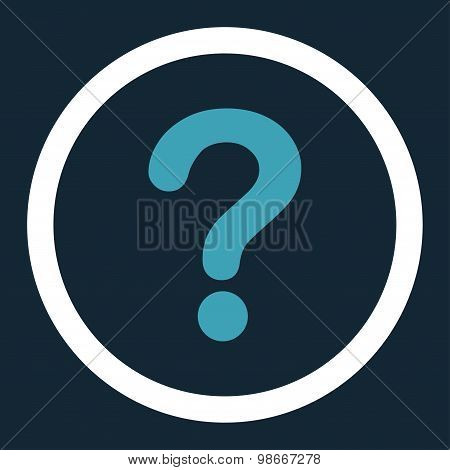 Question flat blue and white colors rounded vector icon