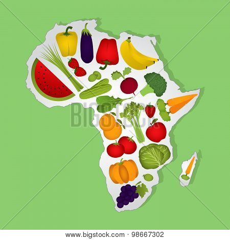 Map Of Africa With Fruits