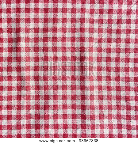 Checkered Tablecloth Background.