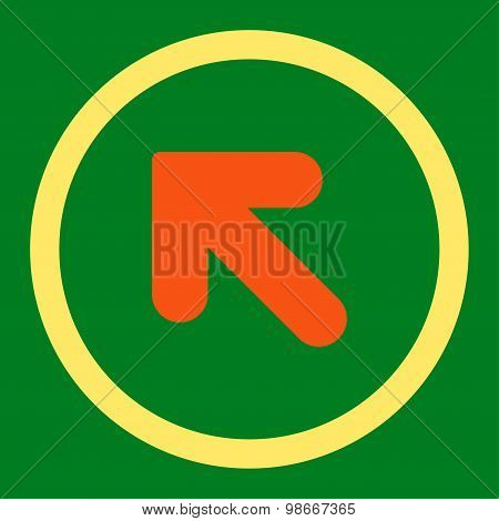 Arrow Up Left flat orange and yellow colors rounded vector icon