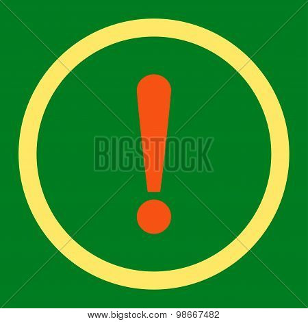 Exclamation Sign flat orange and yellow colors rounded vector icon