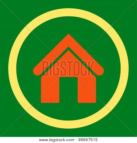 Home flat orange and yellow colors rounded vector icon