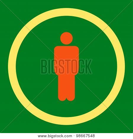 Man flat orange and yellow colors rounded vector icon