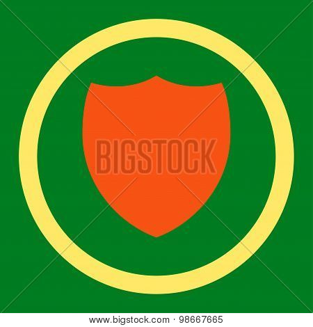 Shield flat orange and yellow colors rounded vector icon