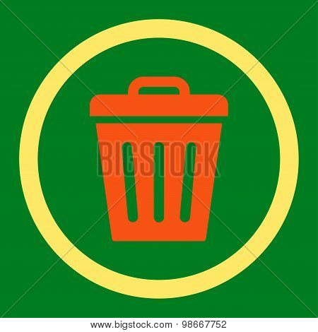 Trash Can flat orange and yellow colors rounded vector icon