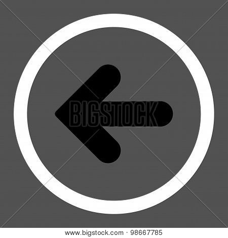 Arrow Left flat black and white colors rounded vector icon