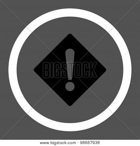 Error flat black and white colors rounded vector icon
