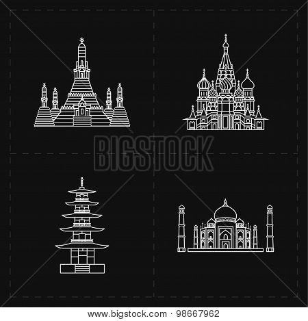 4 flat landmark icons