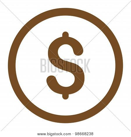 Dollar flat brown color rounded vector icon