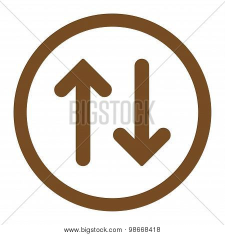 Flip flat brown color rounded vector icon