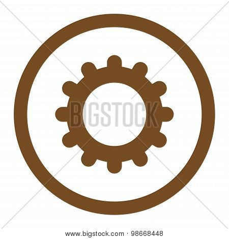 Gear flat brown color rounded vector icon