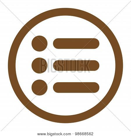 Items flat brown color rounded vector icon