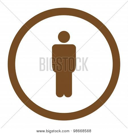 Man flat brown color rounded vector icon