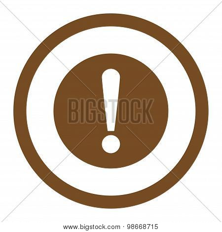 Problem flat brown color rounded vector icon