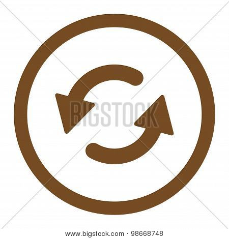 Refresh Ccw flat brown color rounded vector icon