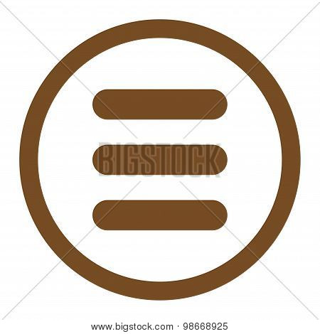 Stack flat brown color rounded vector icon