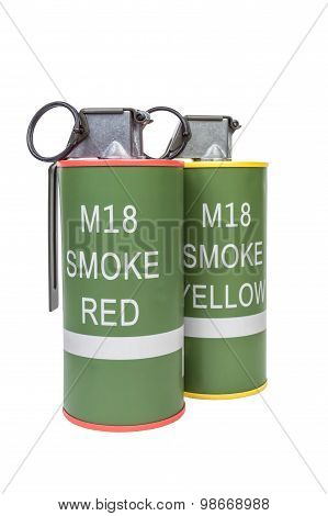 M18 Smoke Red And Yellow Explosive Model, Weapon Army,standard Timed Fuze Hand Grenade On White Back