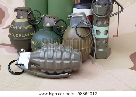 All Explosives, Weapon Army,standard Time Fuze, Hand Grenade On Camouflage Background