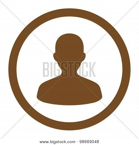 User flat brown color rounded vector icon