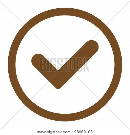 Yes flat brown color rounded vector icon